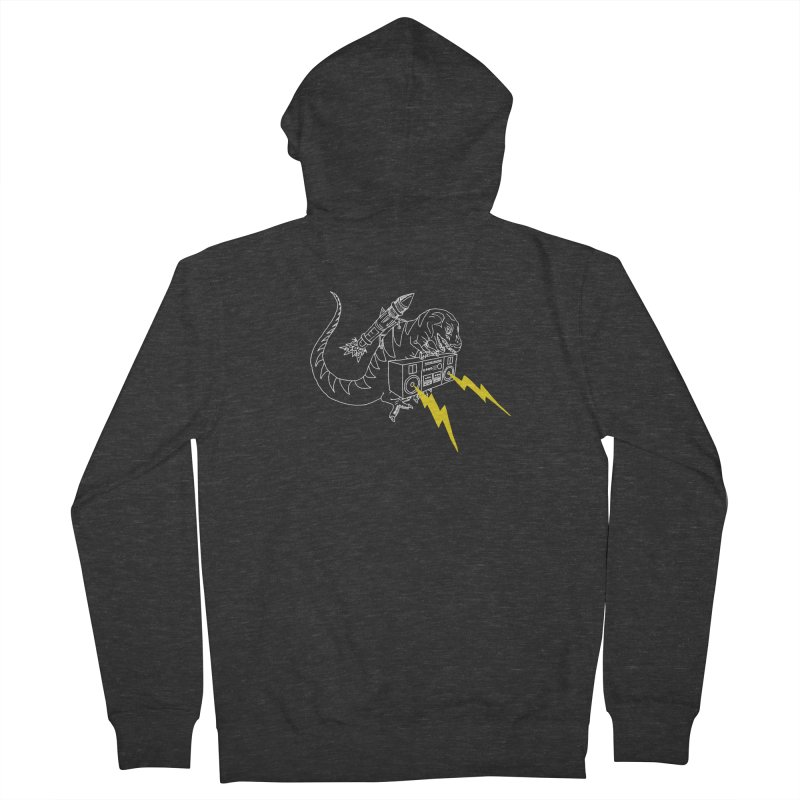 Tyrannosaurus with a Boombox Men's French Terry Zip-Up Hoody by velcrowolf