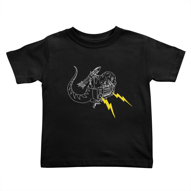 Tyrannosaurus with a Boombox Kids Toddler T-Shirt by velcrowolf