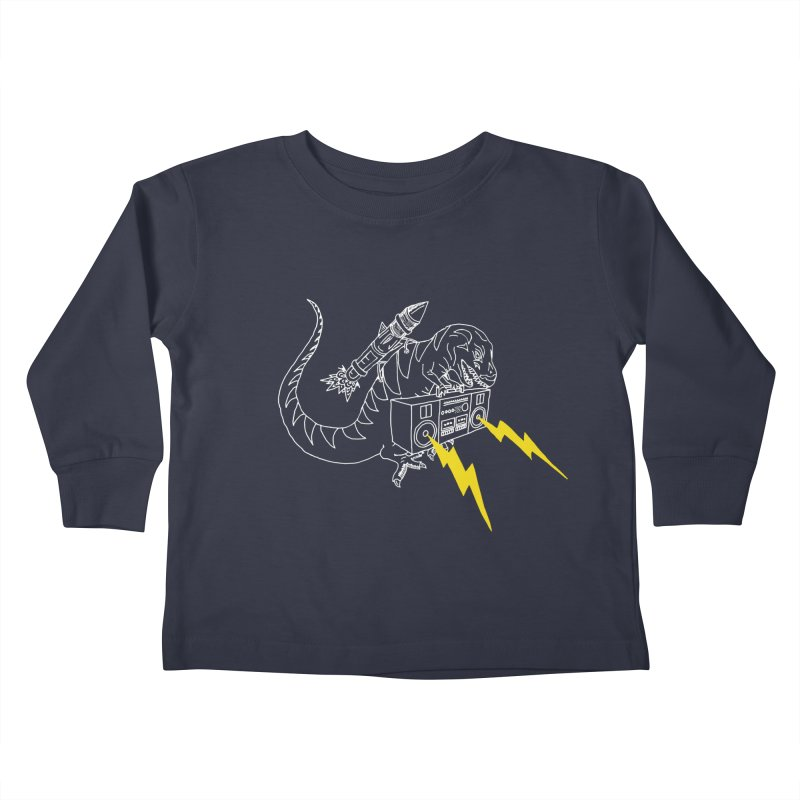 Tyrannosaurus with a Boombox Kids Toddler Longsleeve T-Shirt by velcrowolf