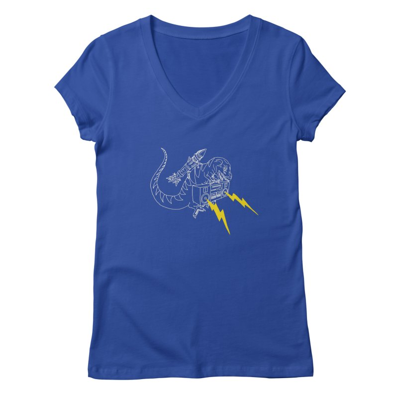 Tyrannosaurus with a Boombox Women's Regular V-Neck by velcrowolf