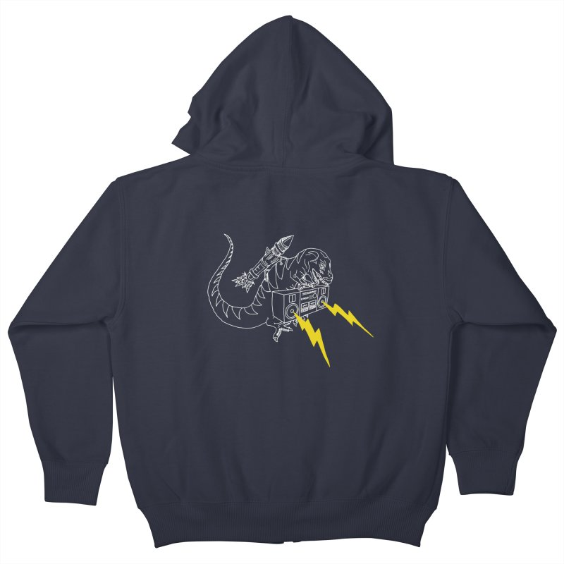 Tyrannosaurus with a Boombox Kids Zip-Up Hoody by velcrowolf
