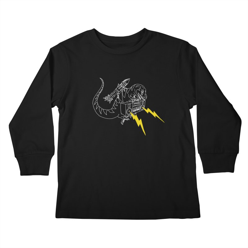 Tyrannosaurus with a Boombox Kids Longsleeve T-Shirt by velcrowolf