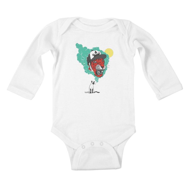 Dope Tiger! Kids Baby Longsleeve Bodysuit by velcrowolf