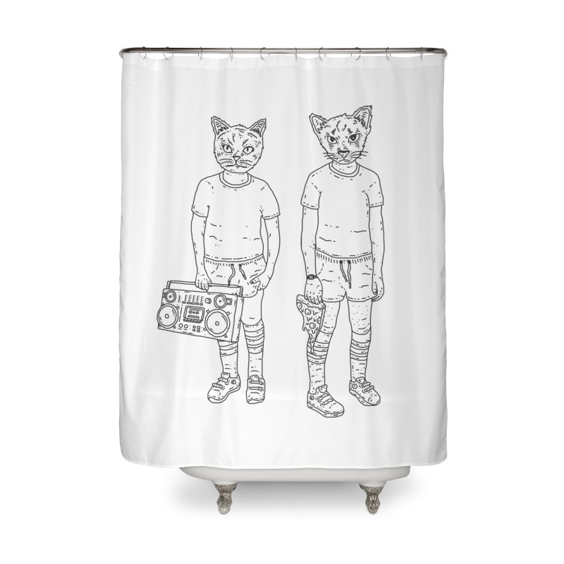 pizza lazers Home Shower Curtain by velcrowolf
