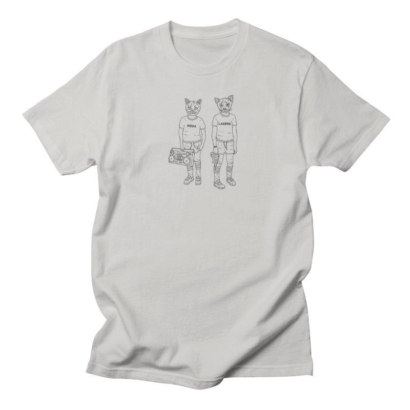 pizza lazers Men's T-Shirt by velcrowolf