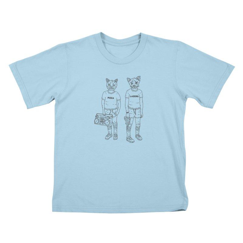 pizza lazers Kids T-Shirt by velcrowolf