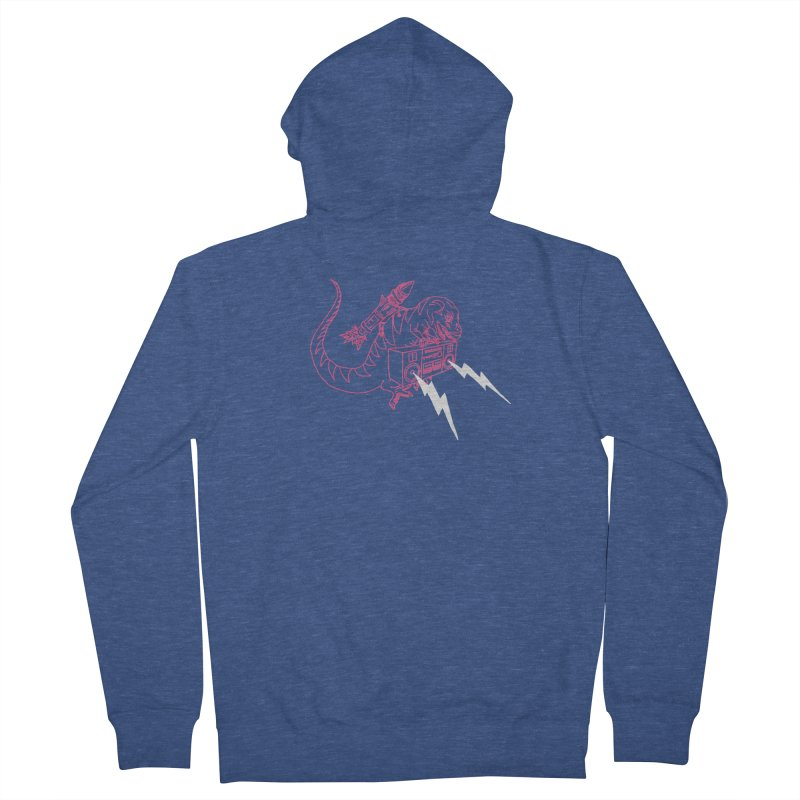 Tyranno with a Lightning Boombox Men's Zip-Up Hoody by velcrowolf