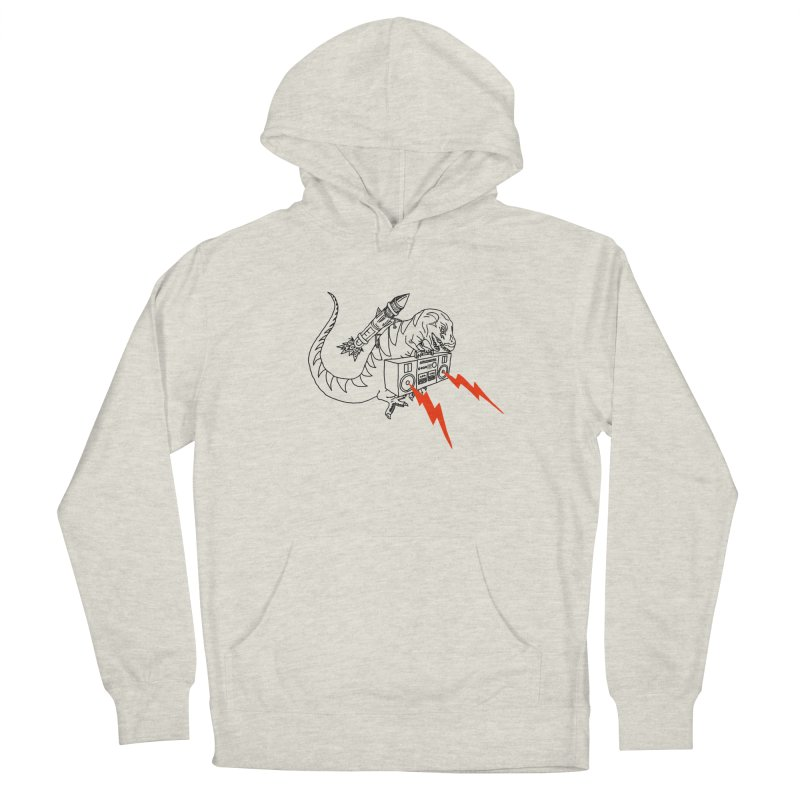 Tyranno on white Men's French Terry Pullover Hoody by velcrowolf