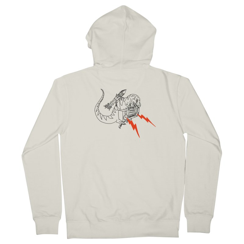 Tyranno on white Men's French Terry Zip-Up Hoody by velcrowolf
