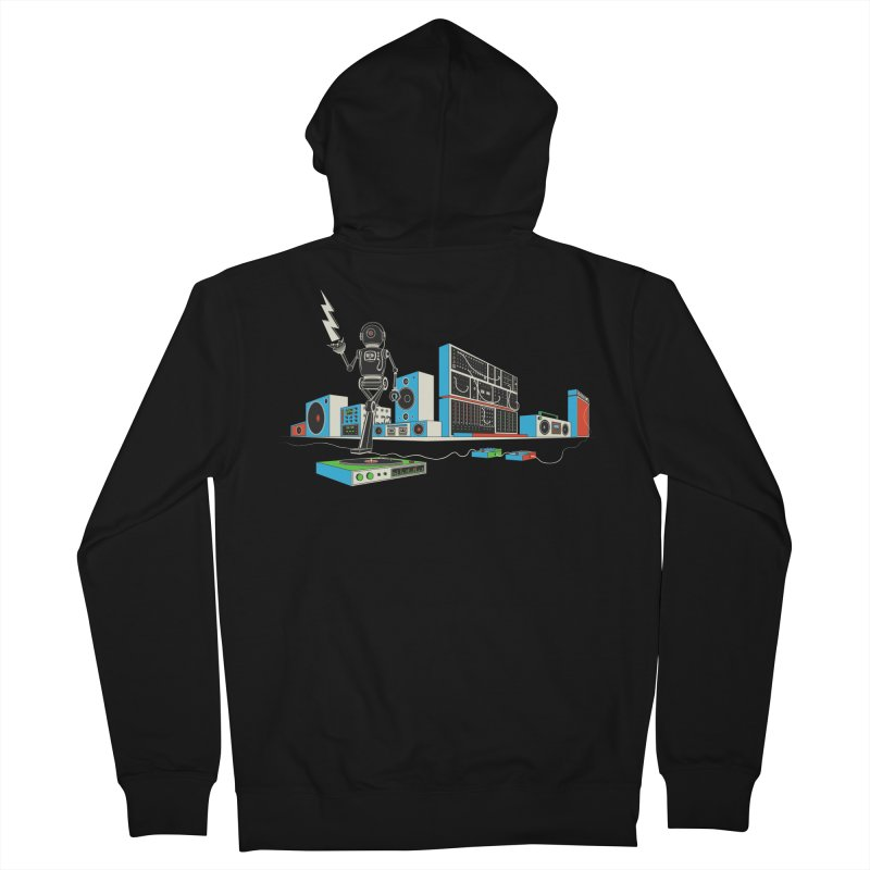 Boombox City with Robot! Men's Zip-Up Hoody by velcrowolf