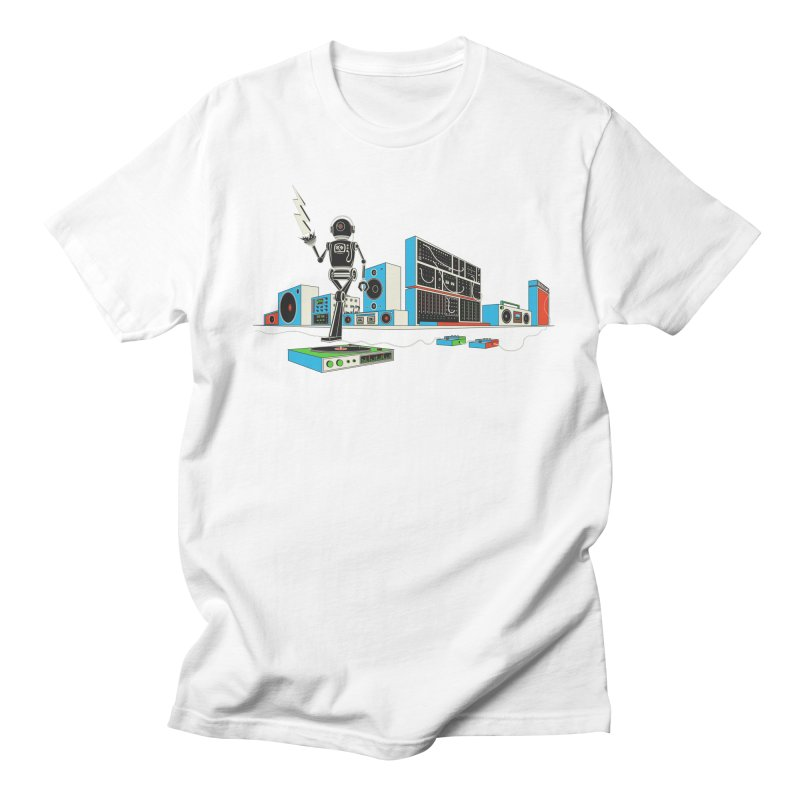 Boombox City with Robot! Men's T-shirt by velcrowolf
