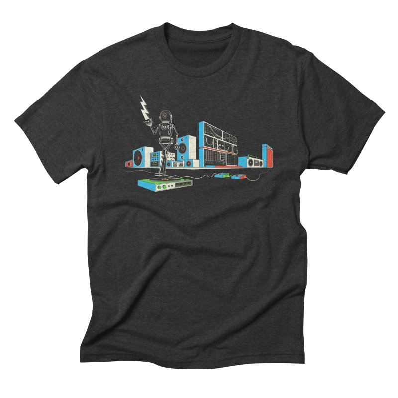 Boombox City with Robot! Men's Triblend T-Shirt by velcrowolf