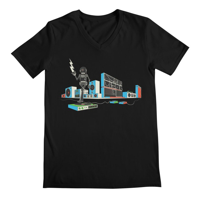 Boombox City with Robot! Men's V-Neck by velcrowolf