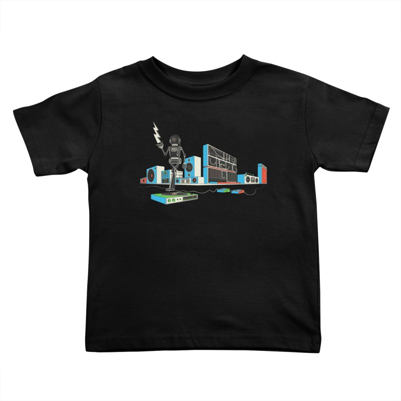 Boombox City with Robot! Kids Toddler T-Shirt by velcrowolf