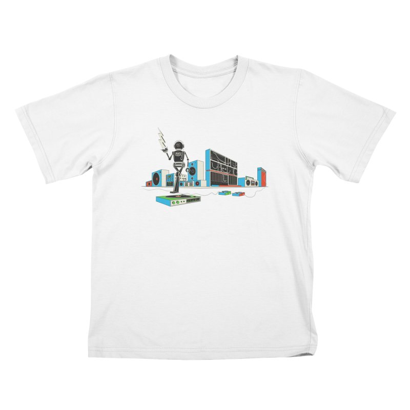 Boombox City with Robot! Kids T-shirt by velcrowolf