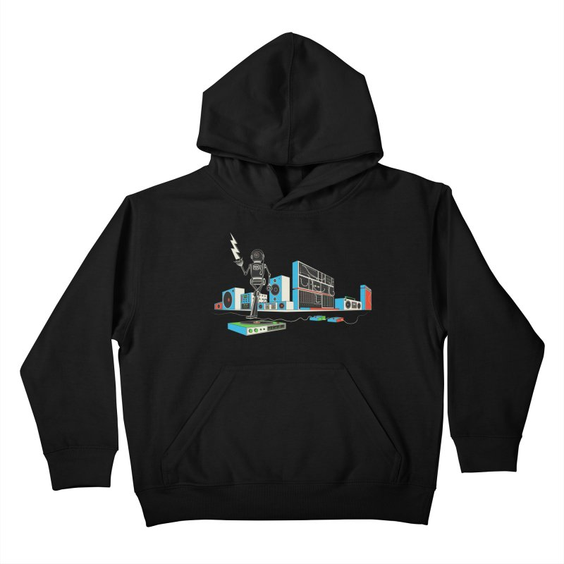 Boombox City with Robot! Kids Pullover Hoody by velcrowolf