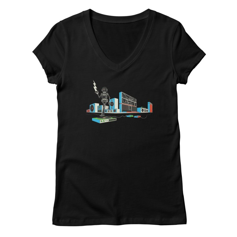 Boombox City with Robot! Women's V-Neck by velcrowolf