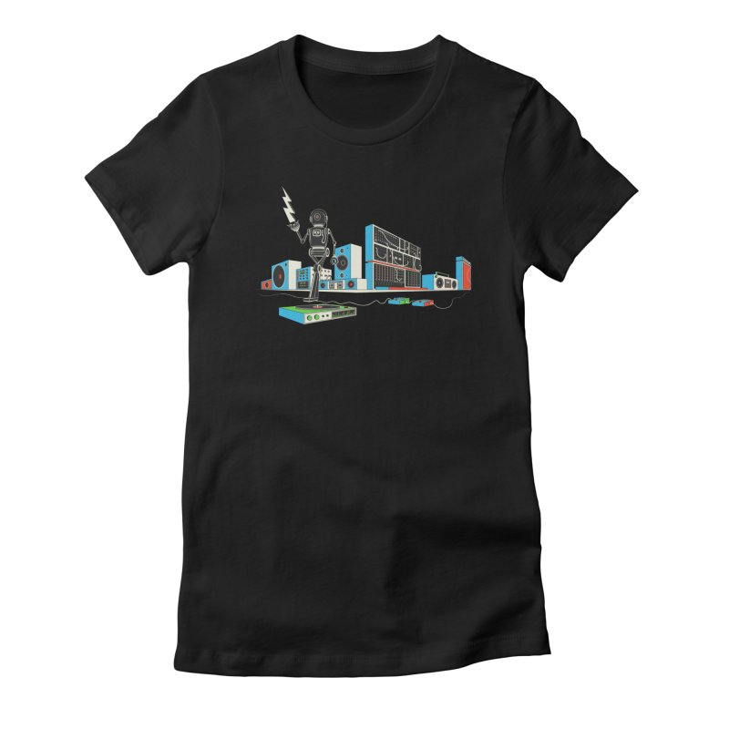 Boombox City with Robot! Women's Fitted T-Shirt by velcrowolf