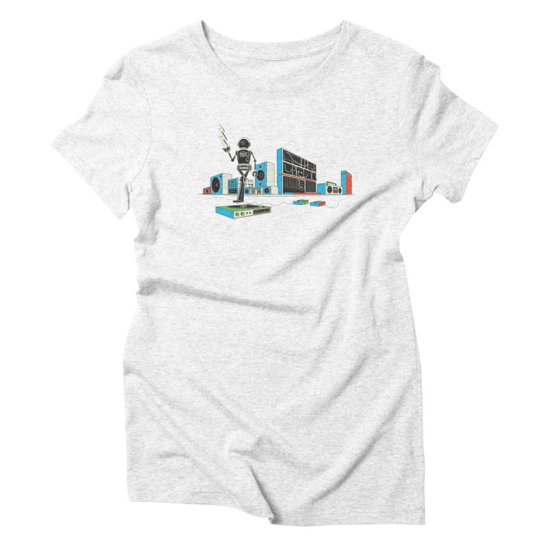 Boombox City with Robot! Women's Triblend T-shirt by velcrowolf
