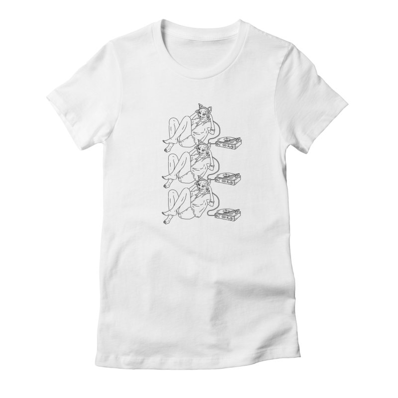 vinyl cat with headphones Women's T-Shirt by velcrowolf