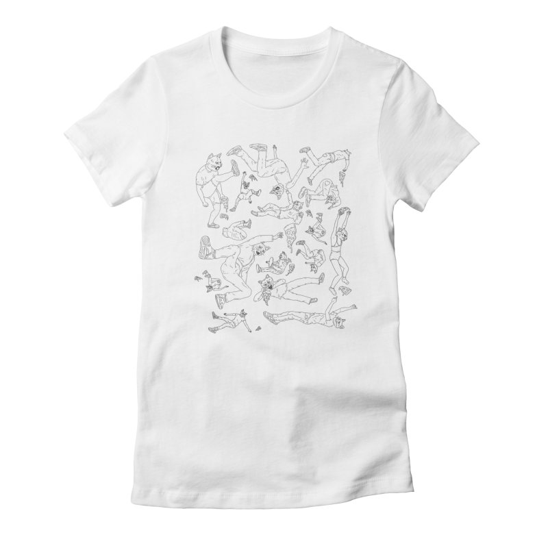 falling pizza cats Women's Fitted T-Shirt by velcrowolf