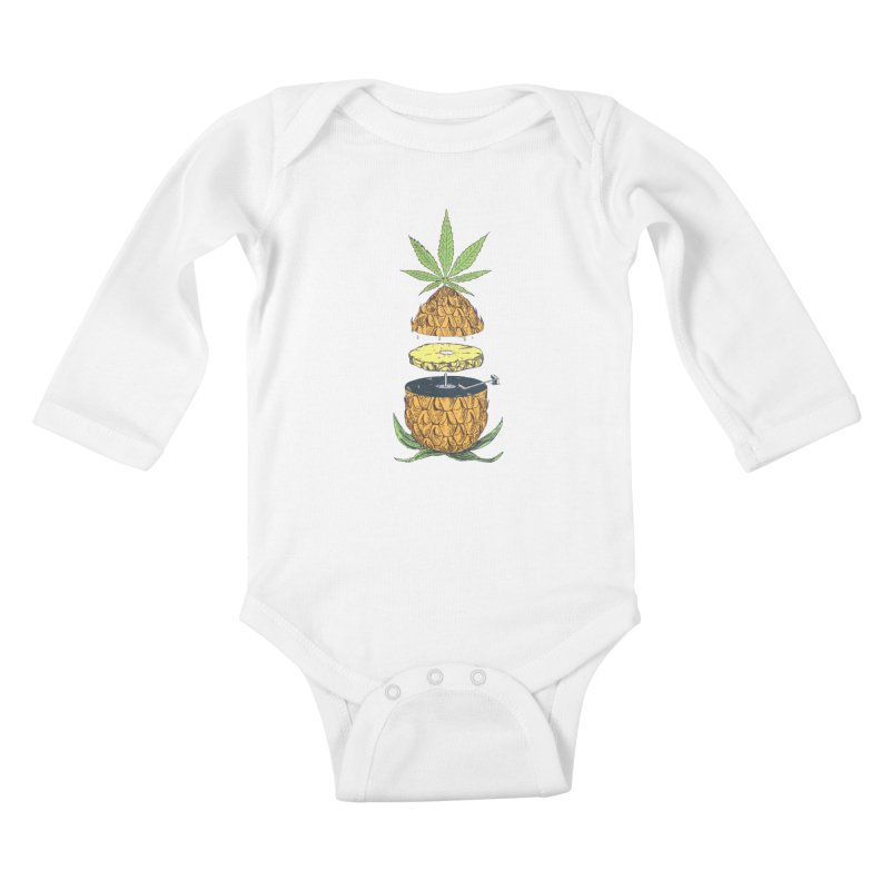 Pineapple Power Kids Baby Longsleeve Bodysuit by velcrowolf