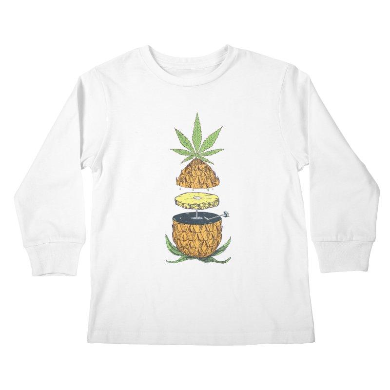 Pineapple Power Kids Longsleeve T-Shirt by velcrowolf