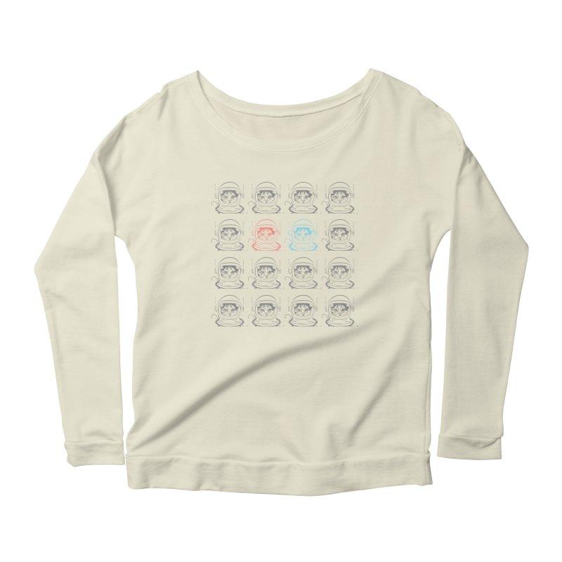 laser cat Women's Scoop Neck Longsleeve T-Shirt by velcrowolf