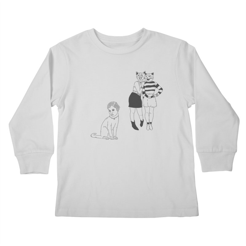 Cat Bullies Kids Longsleeve T-Shirt by velcrowolf