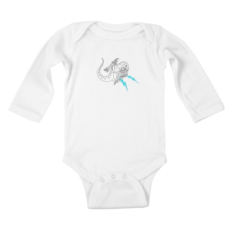 Tyranno Lightning (Light Blue) Kids Baby Longsleeve Bodysuit by velcrowolf