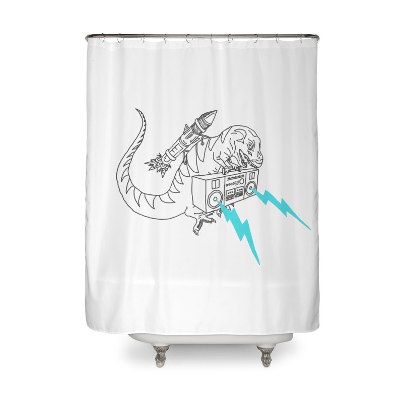 Tyranno Lightning (Light Blue) Home Shower Curtain by velcrowolf