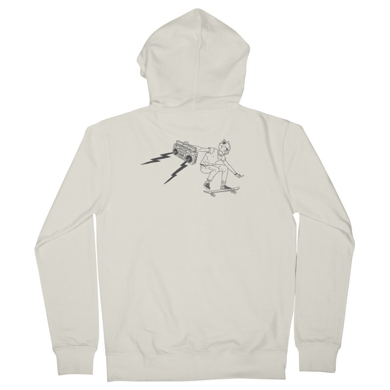 Skateboard Cat Men's French Terry Zip-Up Hoody by velcrowolf