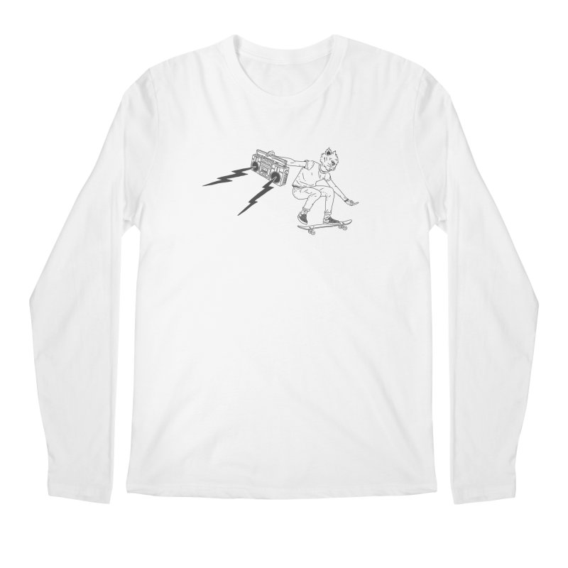 Skateboard Cat Men's Regular Longsleeve T-Shirt by velcrowolf