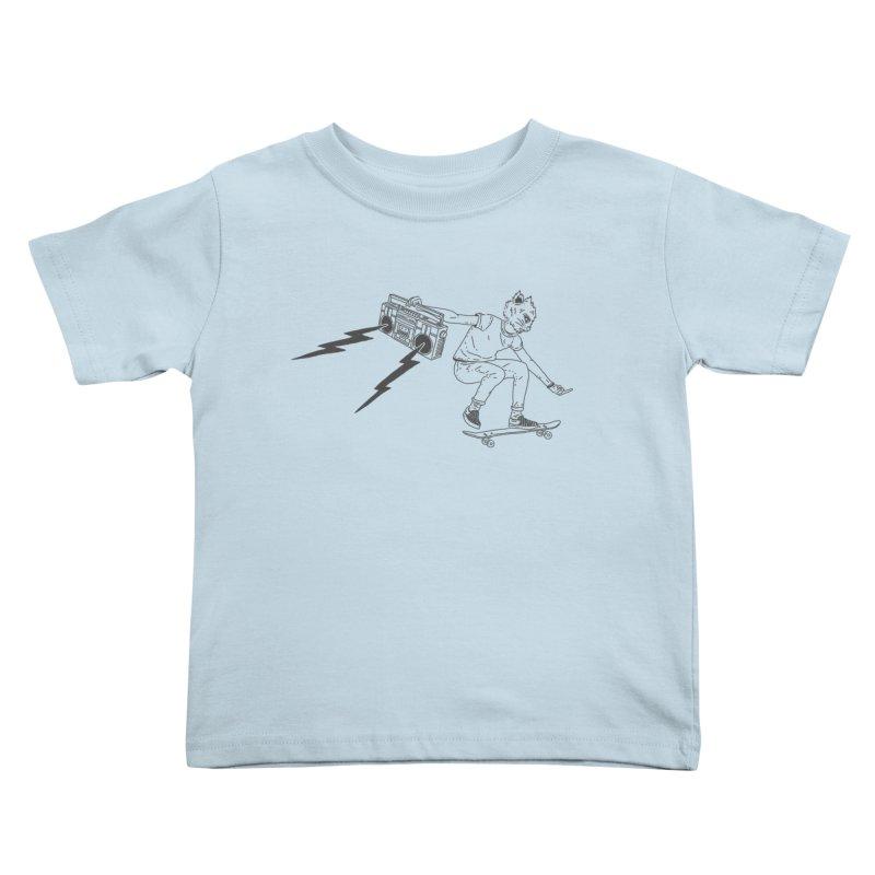 Skateboard Cat Kids Toddler T-Shirt by velcrowolf