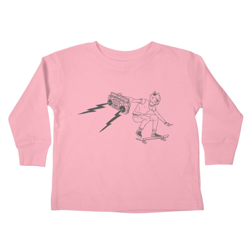 Skateboard Cat Kids Toddler Longsleeve T-Shirt by velcrowolf
