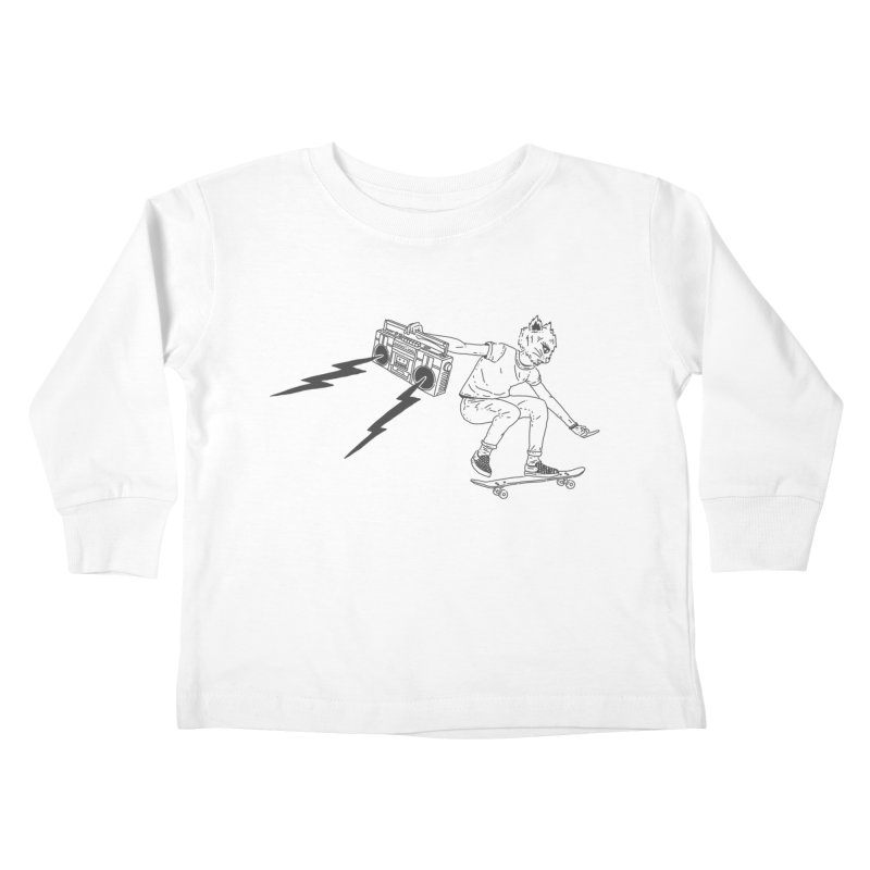 Skateboard Cat Kids Toddler Longsleeve T-Shirt by velcrowolf