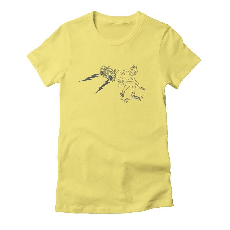 Skateboard Cat Women's Fitted T-Shirt by velcrowolf
