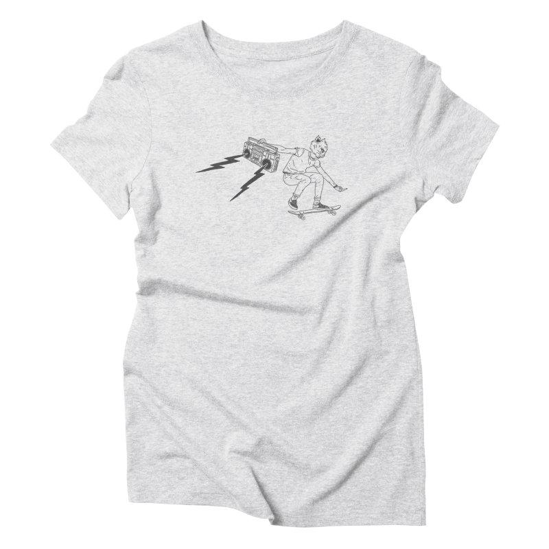 Skateboard Cat Women's Triblend T-Shirt by velcrowolf