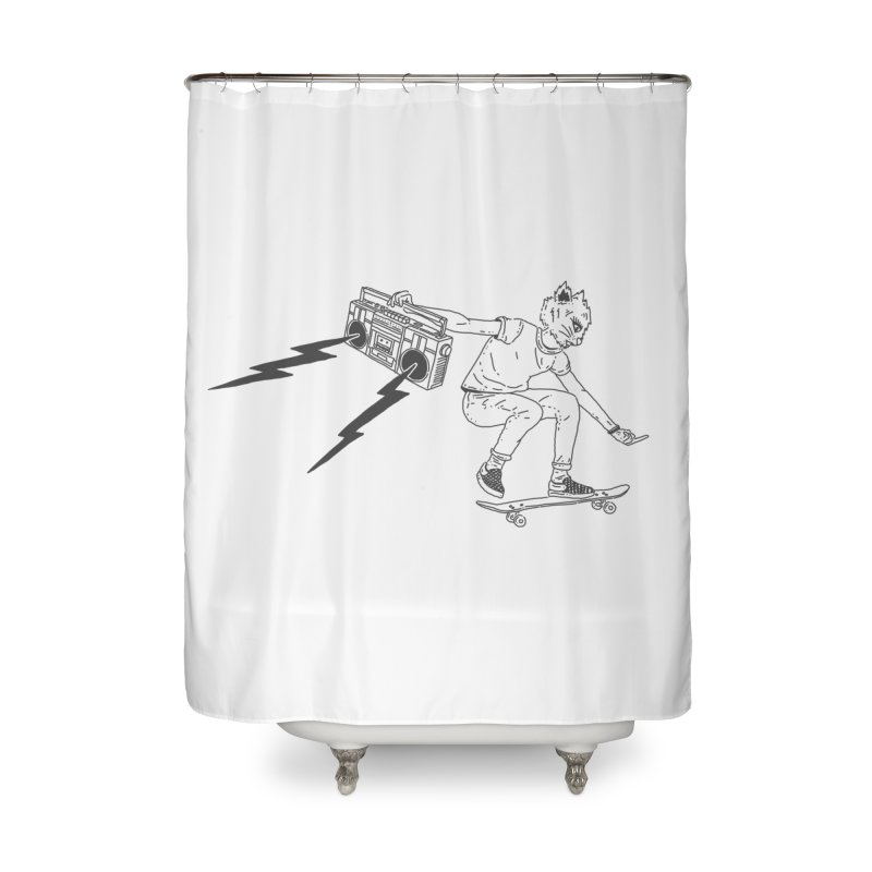Skateboard Cat Home Shower Curtain by velcrowolf