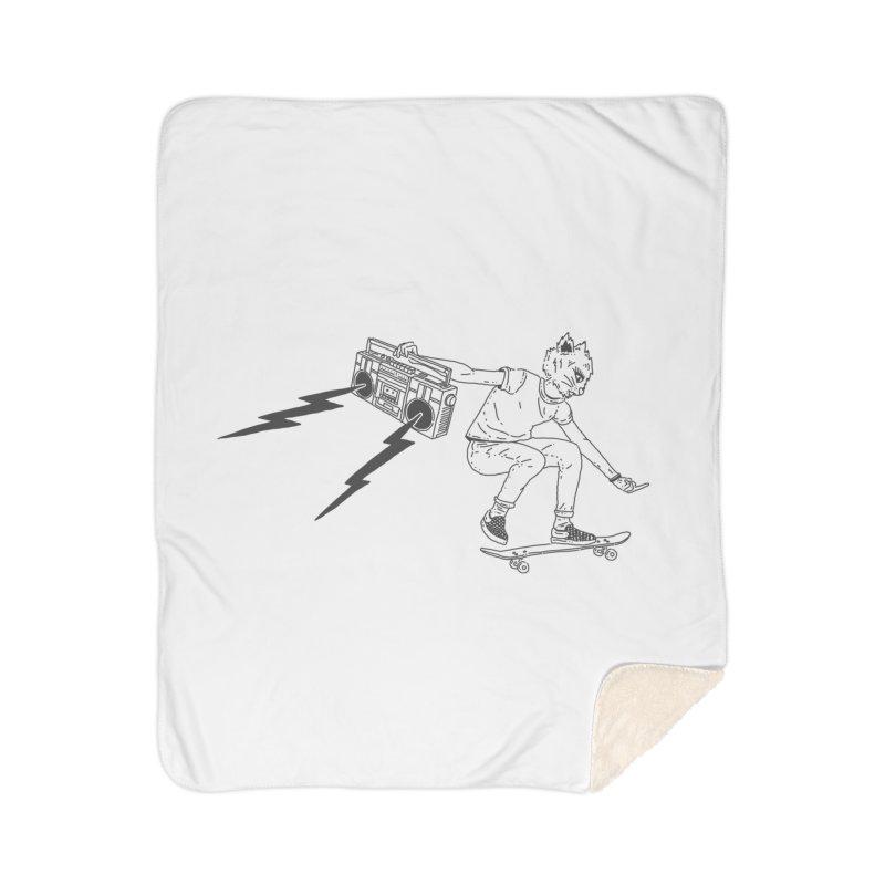Skateboard Cat Home Sherpa Blanket Blanket by velcrowolf