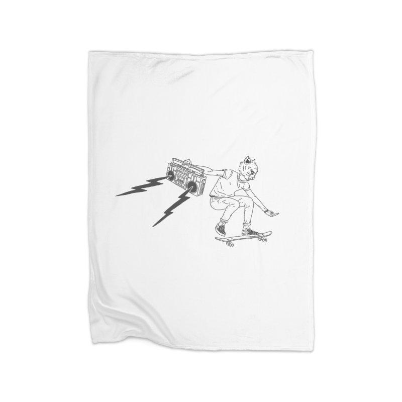 Skateboard Cat Home Fleece Blanket Blanket by velcrowolf