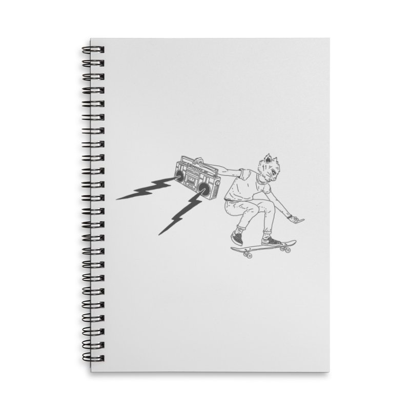 Skateboard Cat Accessories Lined Spiral Notebook by velcrowolf