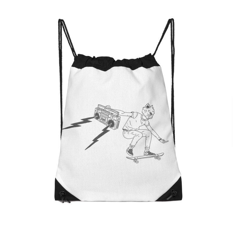 Skateboard Cat Accessories Drawstring Bag Bag by velcrowolf