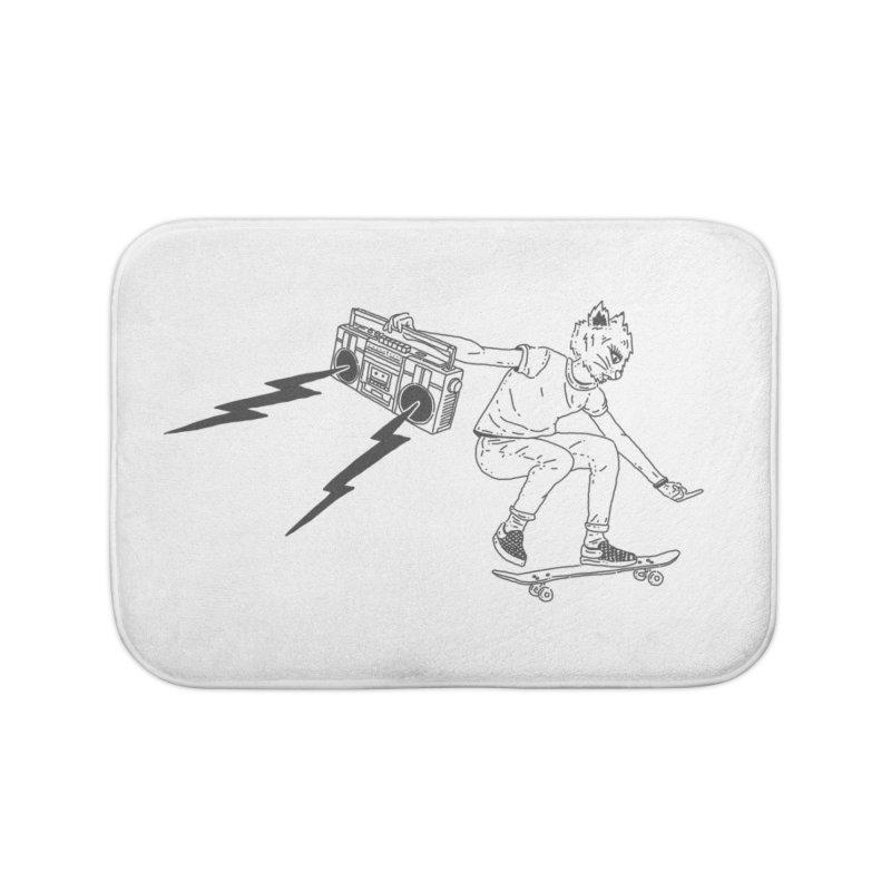 Skateboard Cat Home Bath Mat by velcrowolf