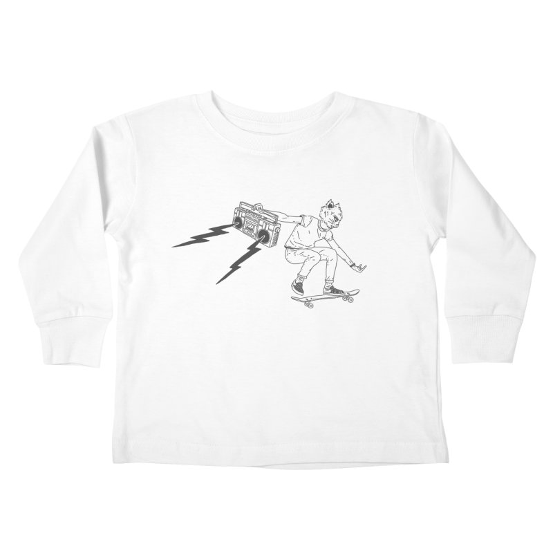 Skateboard Rock Horns Kids Toddler Longsleeve T-Shirt by velcrowolf