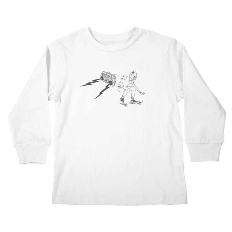 Skateboard Rock Horns Kids Longsleeve T-Shirt by velcrowolf