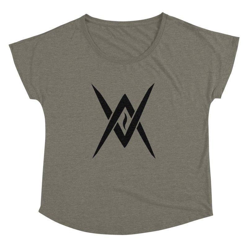 "Venus Aeon ""Tantric Black Flame"" (Black) Women's Dolman Scoop Neck by Venus Aeon (clothing)"