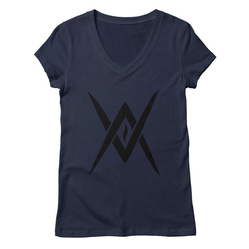 "Venus Aeon ""Tantric Black Flame"" (Black) Women's Regular V-Neck by Venus Aeon (clothing)"