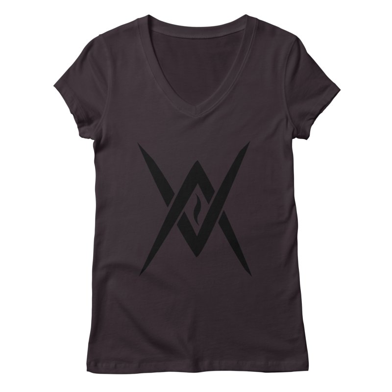 "Venus Aeon ""Tantric Black Flame"" (Black) Women's V-Neck by Venus Aeon (clothing)"