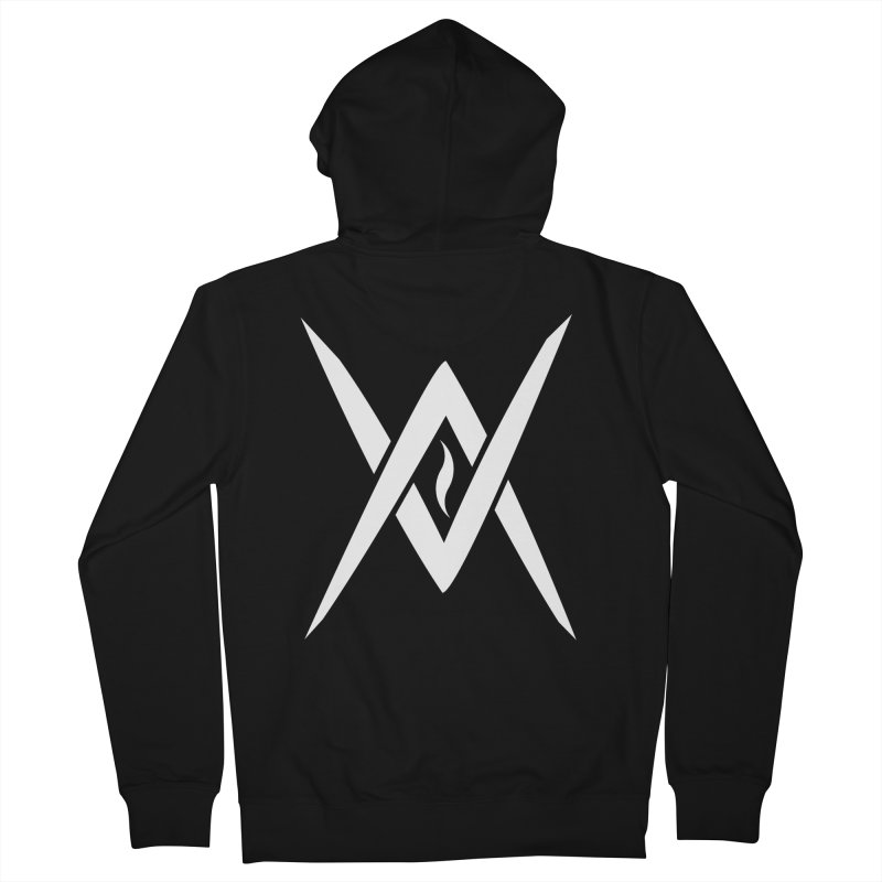 "Venus Aeon - ""Tantric Black Flame"" (White) Men's French Terry Zip-Up Hoody by Venus Aeon (clothing)"